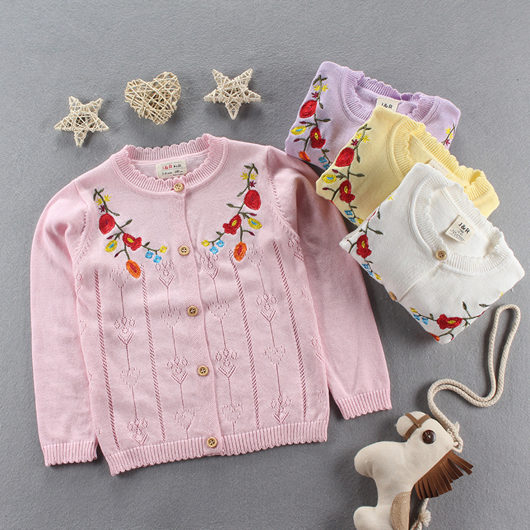 902858021c4a Everweekend Girls Floral Embroidered Knitted Sweater Jackets Floral ...