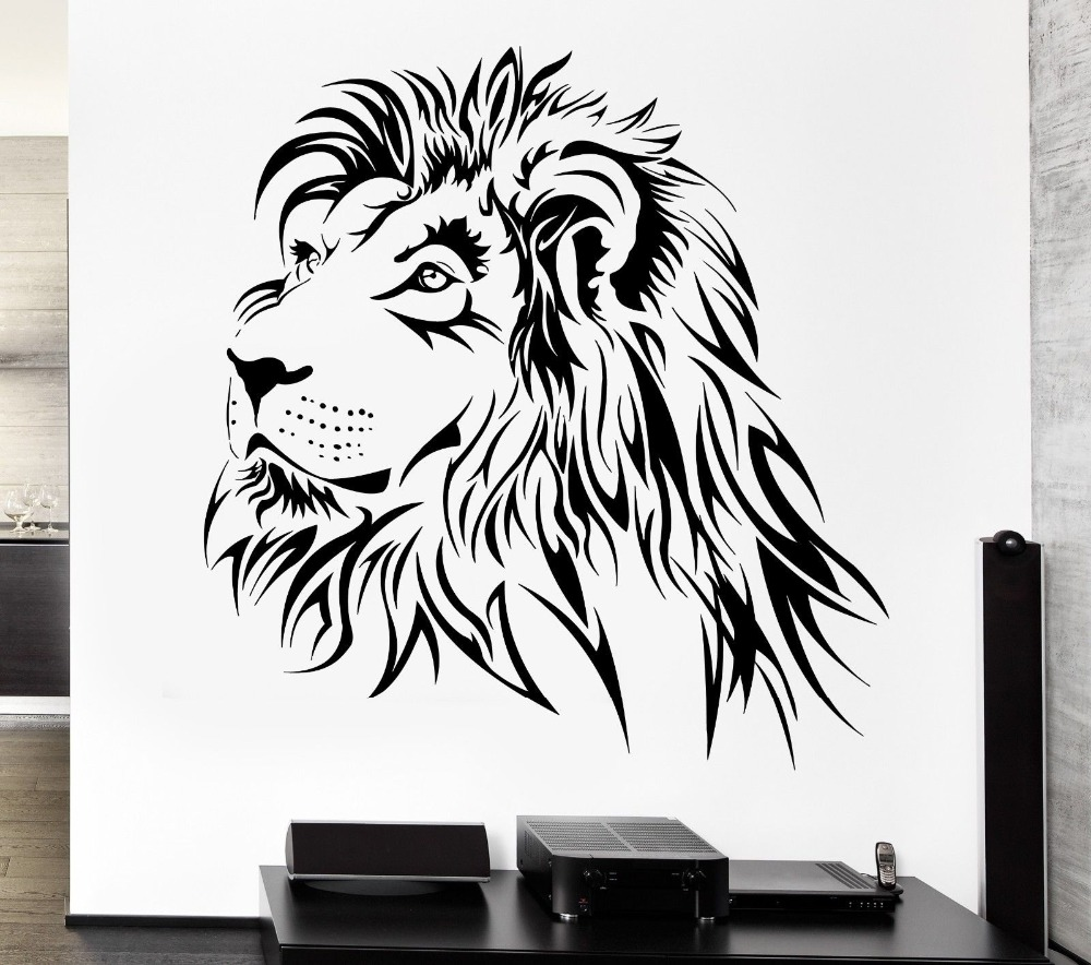home decoration lion wall decal tribal zoo animal vinyl stickers art mural home decor living. Black Bedroom Furniture Sets. Home Design Ideas