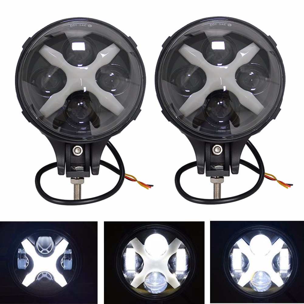 6 inch 60W Led Spotlight /Fog Light Flood Work light Bar For Jeep Wrangle Trucks SUV Off Road 4X4 With X DRL/Angle eyes (2 pcs)
