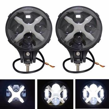 6 inch 60W Led Spotlight /Fog Light Flood Work light Bar For Jeep Wrangle Trucks SUV Off Road 4X4 With X DRL/Angle eyes (2 pcs)