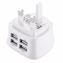 Universele 5 v 3.1A telefoon oplader 4 usb-poort UK plug wall charger Voor iPhone X 7 Samsung S9 Xiaomi huawei Tabletten Opladers(China)