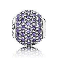 Top Kwaliteit 925 Sterling Zilveren Kraal Charm FAITH Met Paars zirconia Bead Pandora ESSENTIE Armband Diy Sieraden