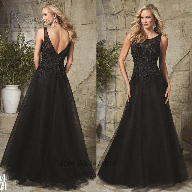 71f753684c Vestido Social Long Black Evening Dress Beaded Lace Prom Dresses 2016 V  Back Tulle Applqiue Robe de Soiree Courte Women