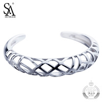 SILVERAGE Silver Bangle 925 Sterling Silver Jewelry For Women Hollow Braid Cuff Bangle Bracelets Original Brand 2018