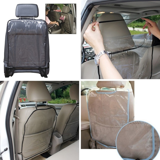 2pcs Universal  Transparent Anti Child Kick Pad Car Backseat Protector Cover for Children Babies Kick Mat Protects from Mud Dirt