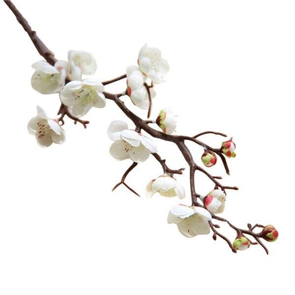 fcbdc49430 Plum Cherry Blossoms Artificial Silk Flowers Flores Sakura Tree Branches  Home Table Living Room Decor Diy