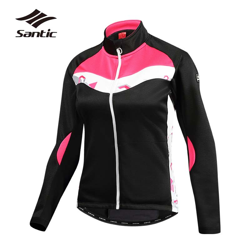 Santic Cycling Jacket Women Autumn Windproof Bike Jacket Winter Fleece Thermal Riding Wind Jacket Bicycle Clothes Ropa Ciclismo цена