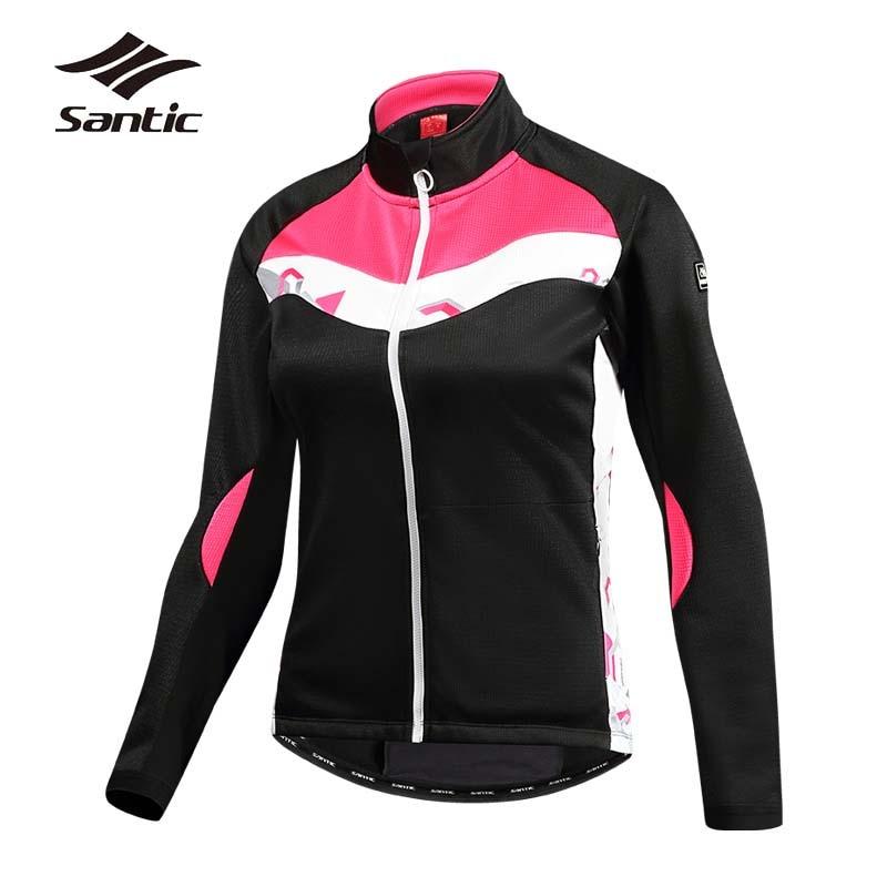 цена Santic Cycling Jacket Women Autumn Windproof Bike Jacket Winter Fleece Thermal Riding Wind Jacket Bicycle Clothes Ropa Ciclismo онлайн в 2017 году