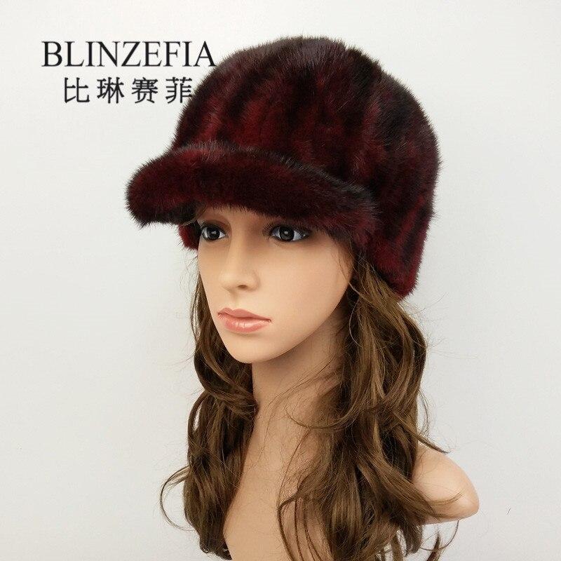 2019 mode réel vison fourrure chapeaux Gorro pour femmes dame hiver chaud russe visières naturel véritable fourrure Cap Chapeu Viseira BZ6015