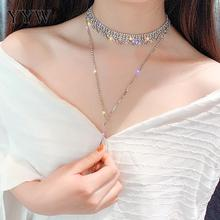 Gold Color Full Rhinestone Choker Necklaces for Women Long Crystal Pendant Statement Jewelry Party Gifts