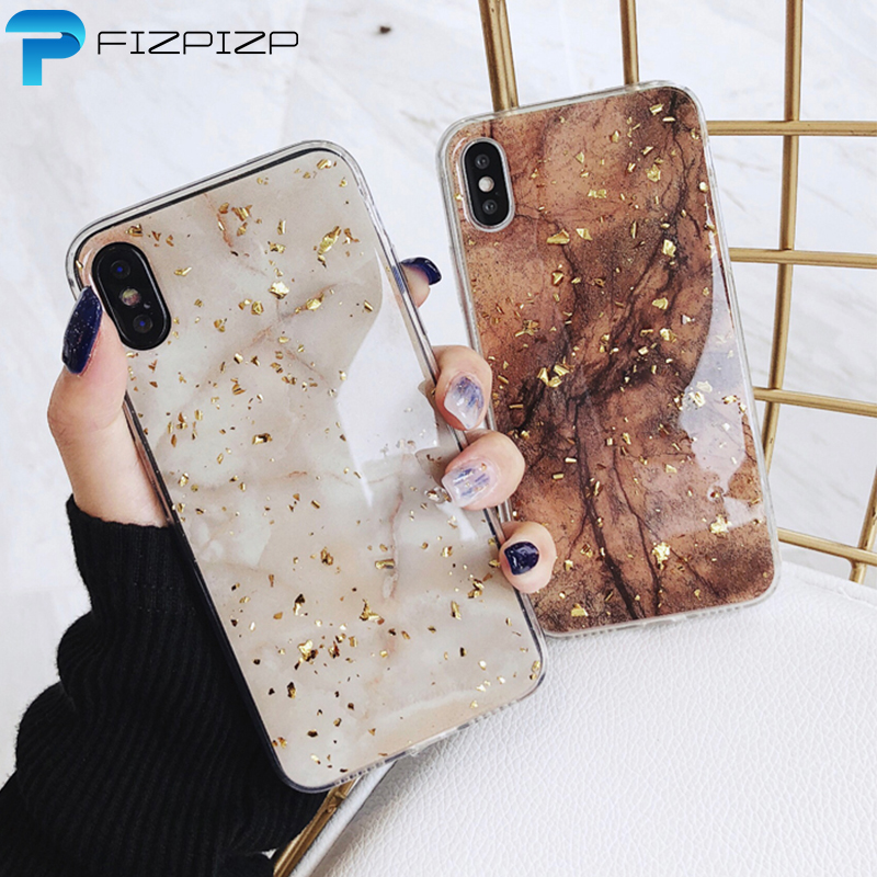 Gold Foil Bling Marble Phone For IPhone XS Max XR X Cover Silicone Soft For IPhone 7