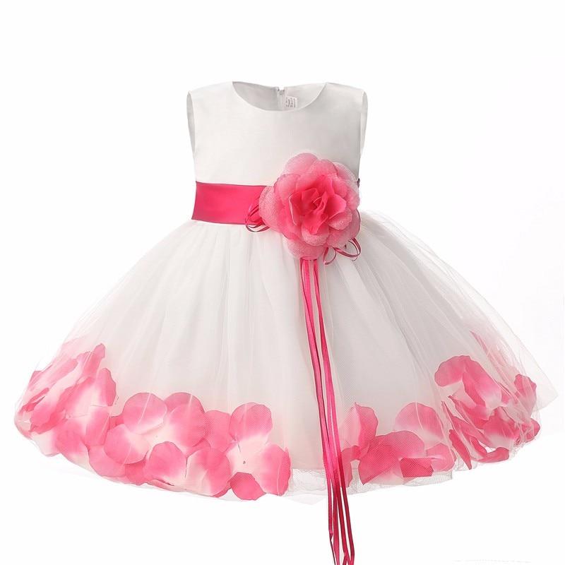 fa3591e3510 Summer Floral Baby Dress For Wedding Party Sleeveless Rose Petal Hem  Christening 1 Years Toddler Girl