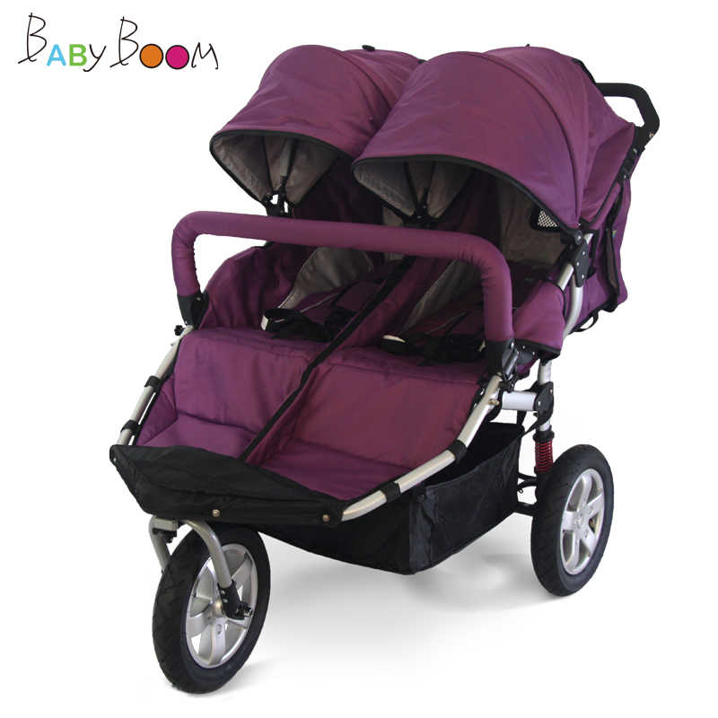 12inch Rubber Wheel Twins Stroller, 3 wheels Twins Jogger Stroller, Aluminum Alloy Frame Twins Cart with shock proof