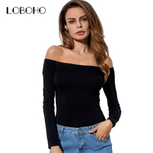 Sexy Off The Shoulder Tops For Women 2017 Autumn New Fashion Long Sleeve Cotton Tee Shirts Women Casual T Shirts Solid Color