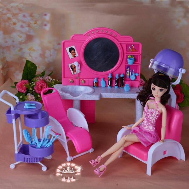 miniature meubles mon fantaisie vie salon de coiffure pour barbie poupee maison meilleur cadeau jouets pour fille livraison gratuite dans poupees de jouets
