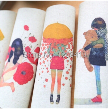 7 Pcs/lot,20*20CM Flower Girl Hand Dyed Cotton Linen Fabric For DIY Patchwork Sewing Applique Quilting Home Textile Tecido