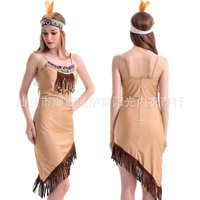 Native American Costume 2016 COS Brown Indians Party Dress Sexy Uniform Sexy Halloween Princess Costume Carnival