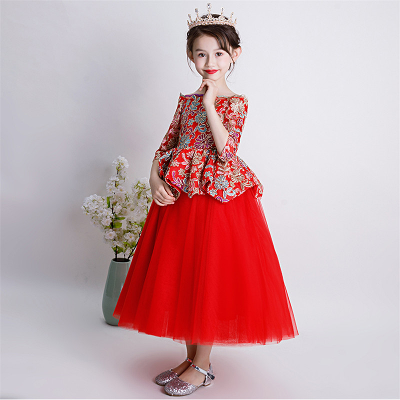 a69e160d5 Luxury Children Girls Embroidery Flowers Chinese Wind Birthday Wedding  Party Long Prom Dress Baby Kids Elegant. sku: 32961167708