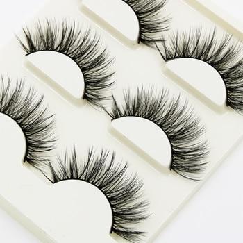 YOKPN 3 pairs Soft Natural Long Lashes Cross Messy Thick Cotton Stalk 3d False Eyelashes Stage Banquet Makeup Fake Eyelashes