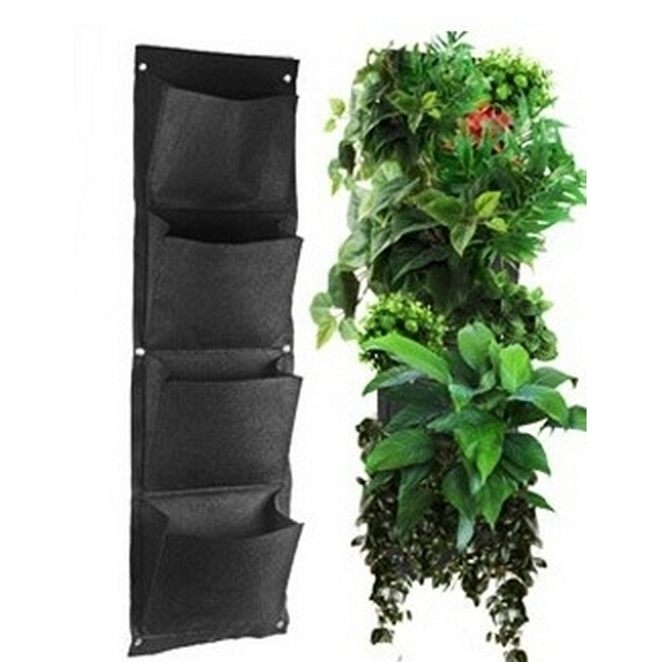 GlobalBuy 4 Pockets Vertical Wall Garden Planter | Wall Mounted Plants |  Eco Friendly