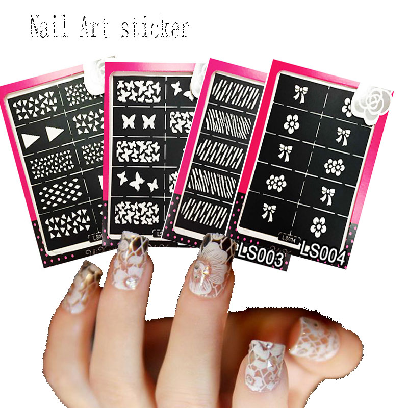 Reusable Stamping Tool Nail Art Template Stencil Stickers Vinyls Image Guide Polish Manicure Nail Hollow Stickers 24 Styles