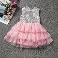 Vestido de la muchacha Sin Mangas Glitter En Capas Vestido de Princesa Para Las Niñas de Los Niños del Verano Ropa Y Accesorios SW
