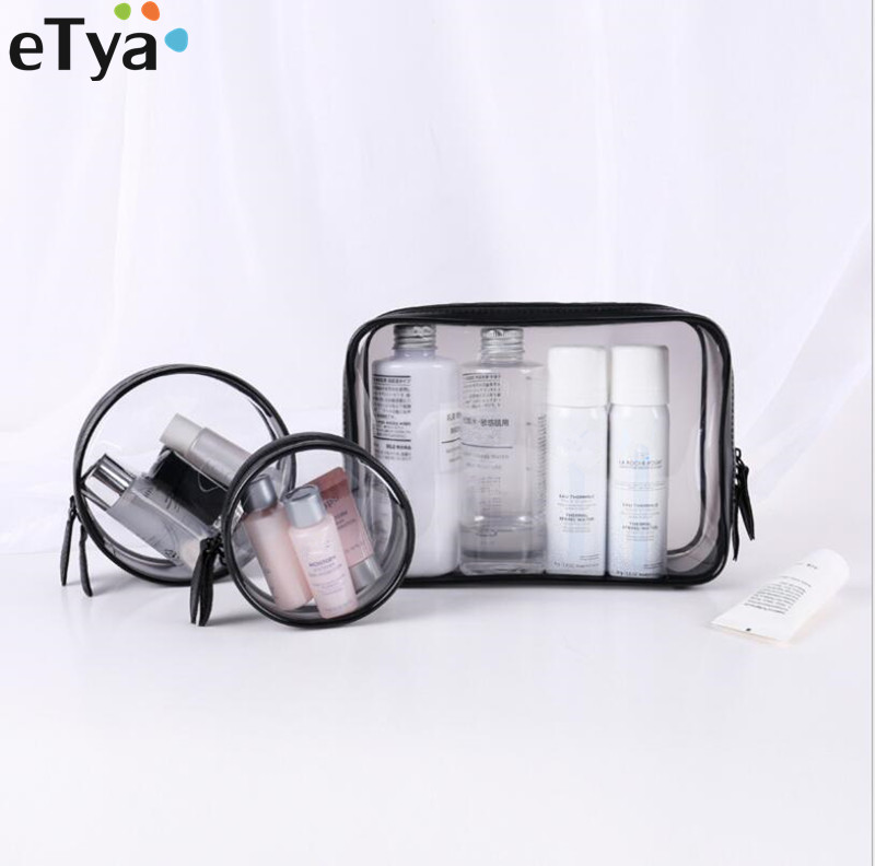 ETya Transparent PVC Cosmetic Bag Women Travel Make Up Toiletry Bags Environmental Travel Neceser Toiletry Wash Organizer Case