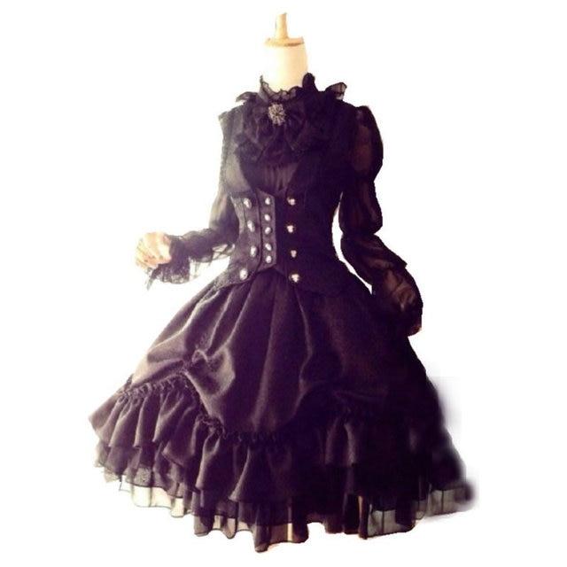 8bc04a731 18 siglo guerra civil Vintage/vestidos del Victorian/Lolita vestido US6-26  SC