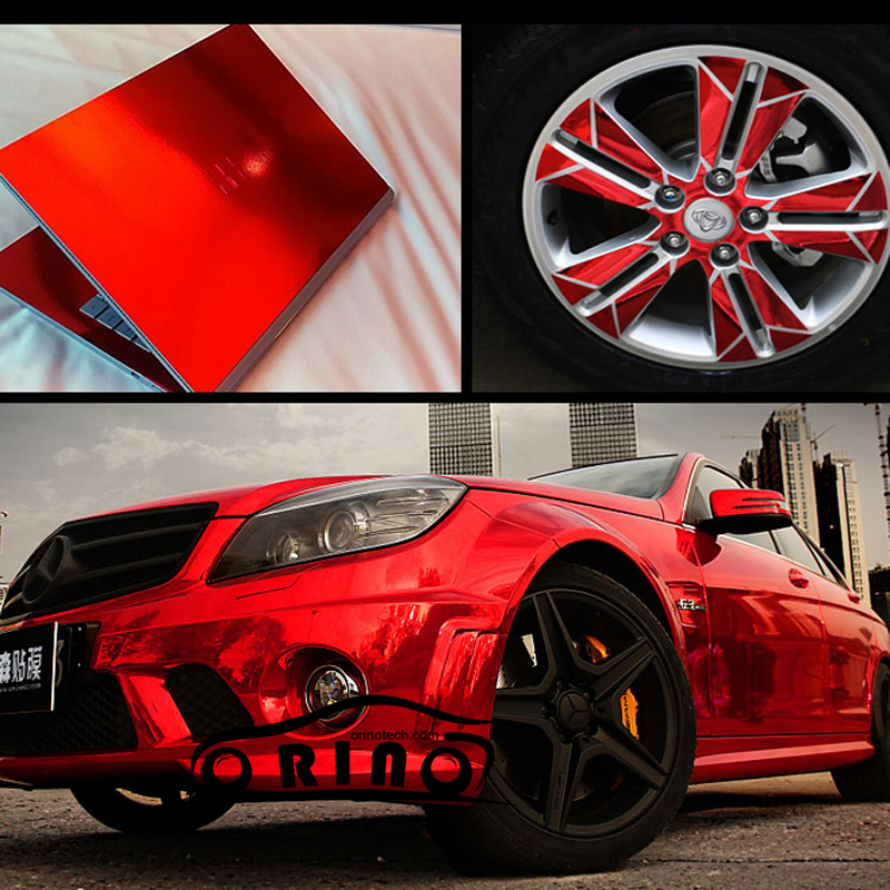 High Stretchable Waterproof Red Chrome Mirror Vinyl Wrap Sheet Roll Film Car Sticker Decal For Vehicle Wrapping Foil image