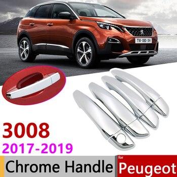 Para Peugeot 3008 2017 ~ 2019 Luxuriou MK2 Chrome Exterior Maçaneta Da Porta Acessórios Do Carro Tampa Adesivos Guarnição Set 2nd Gen 2018