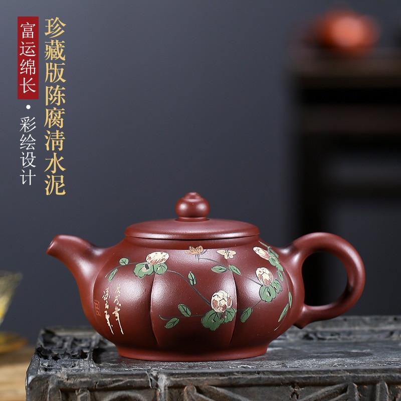 Recomendado minério de yixing famosa toda a mão bule fu yun longo vaso de flores kung fu jogo de chá personalizado desenho colorido ou padrão