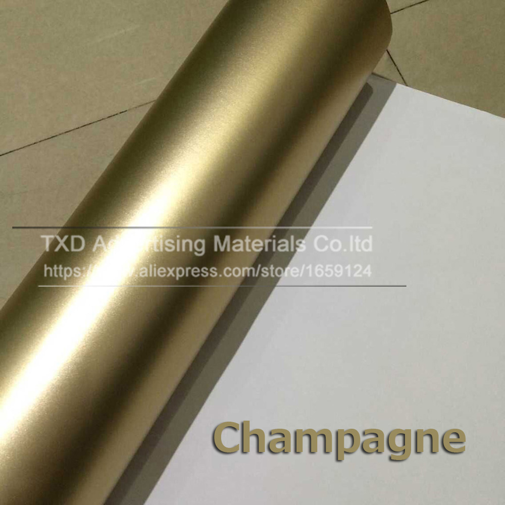 10/20/30/40/50/60x152CM/Lot Champagne Gold Satin Matte Chrome Vinyl Car Wrap Film Sticker Bubble Free Car Styling by free Ship free ship 10