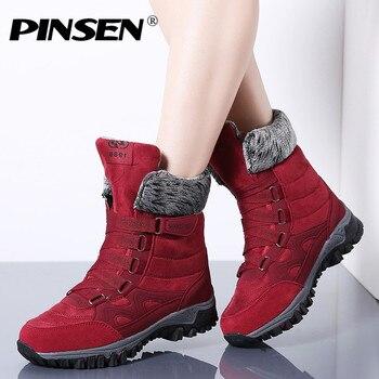47afa656c PINSEN/Новинка 2019 года, женские ботинки высокого качества из кожи и  замши, зимние ботинки, женские теплые непромокаемые зимние ботинки на шнуро.