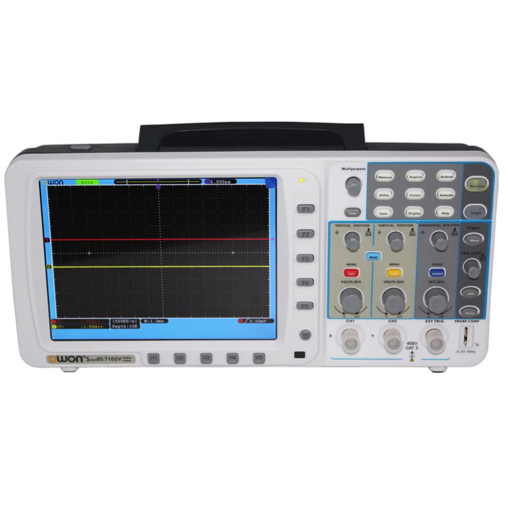 OWON New OWON 100Mhz Oscilloscope SDS7102 1G/s large 8 LCD LAN VGA battery included