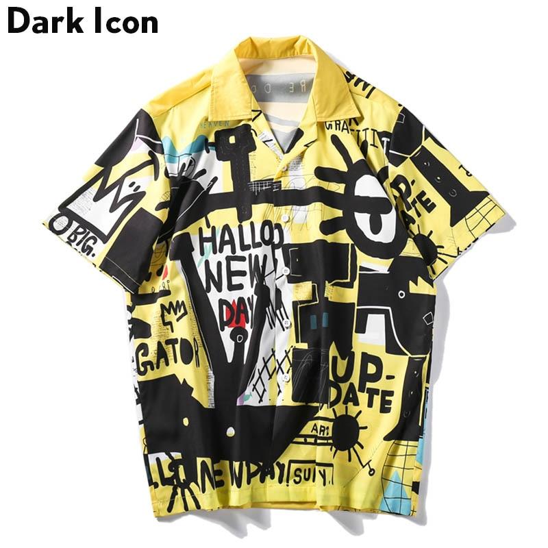 Dark Icon Graffitti Retro Shirts 2019 Summer Street Men's Shirt Short Sleeve Turn-down Collar Vintage Shirts for Men