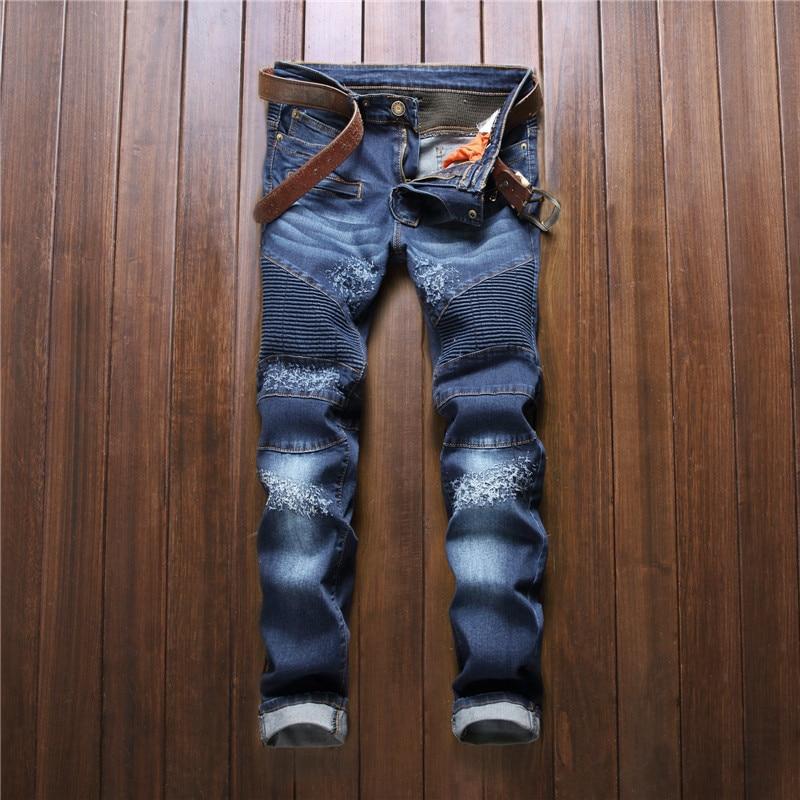 2017 New Designer Denim Biker Jeans Men Stretch Slim Fit Skinny Pencil Jeans Pants Famous Brand Clothing Size 29 To 38  2016 new fashion mens designer ripped stretch biker jeans slim fit elastic skinny pencil jean pants famous brand black red white
