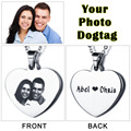 Personalized Custom Photo Tag Necklace Engrave Word & Picture Love Heart Stainless Steel Necklaces & Pendants(JewelOra NE101323)