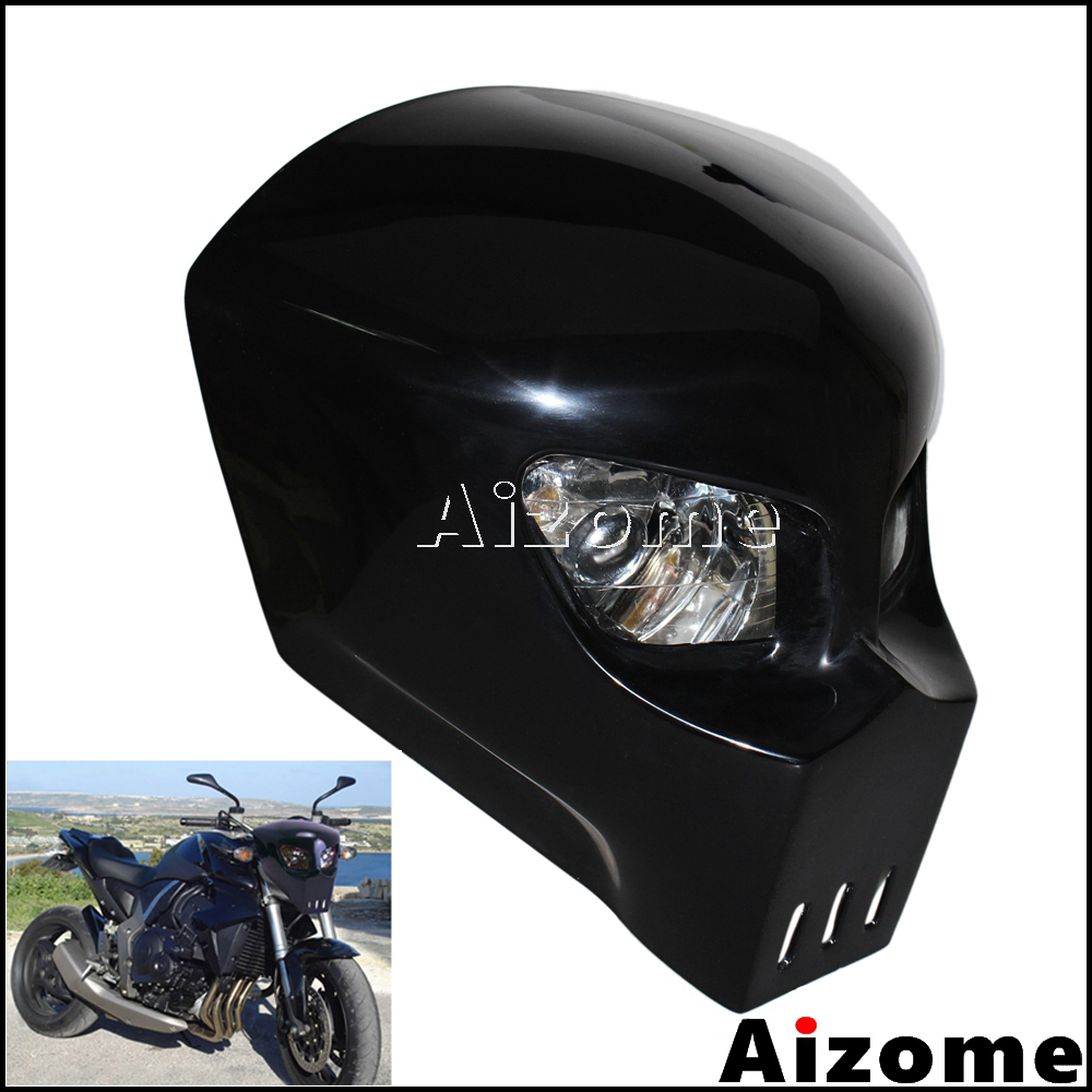 Black Skull Headlight Streetfighter Custom Motorcycle Headlight Mask Fairing For Kawasaki Suzuki Yamaha Street Bike