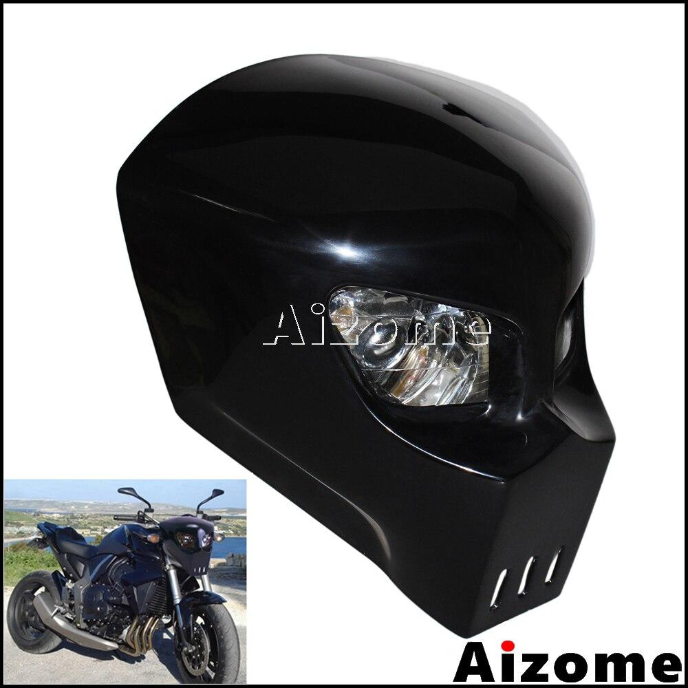 Black Skull Headlight Streetfighter Custom Motorcycle Headlight Mask Fairing For Kawasaki Suzuki Yamaha Street Bike