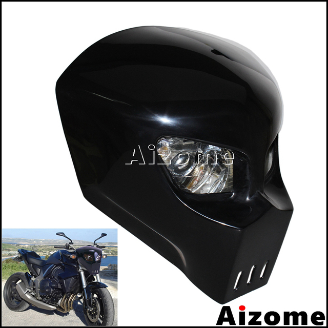 Us 40 0 Black Skull Headlight Streetfighter Custom Motorcycle Headlight Mask Fairing For Kawasaki Suzuki Yamaha Street Bike On Aliexpress Com