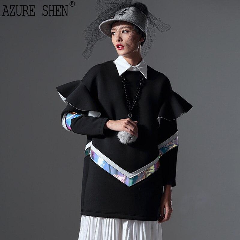 [EWQ] New Autumn 2018 fashion Tailor-made O-neck Women Dress High-end Ruffles contrast Color Spliced Pullover AZK85001M