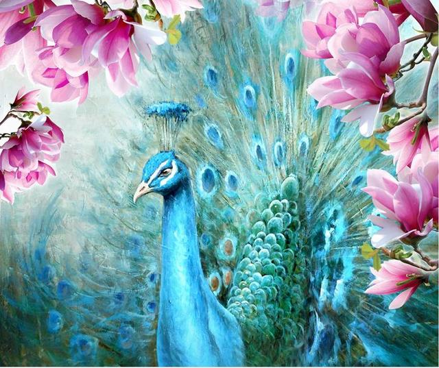 Customize 3d luxury wallpaper peacock magnolia hand painted oil painting background wall wallpaper for walls 3
