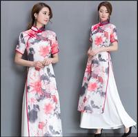 Summer Cheongsam dress Retro Vietnam ao dai Plus size cheongsam