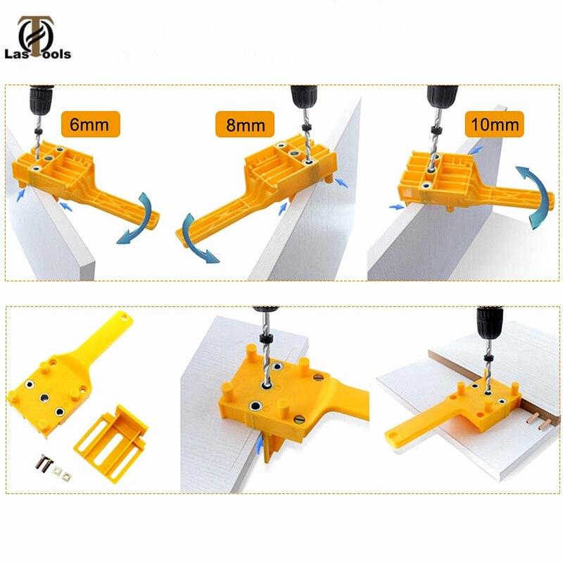 Купить с кэшбэком 6 8 10mm Wood Drill Bits Woodworking Jig ABS Plastic pocket hole jig Drill Guide Tool For Carpentry Metal Sleeve