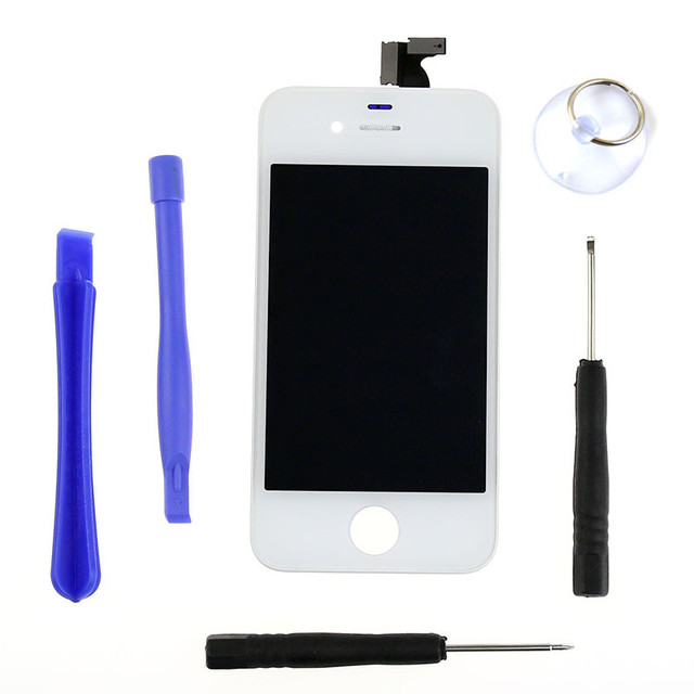 Competitive AAA Screen Assembly Touch Digitizer LCD Display Screen for iphone4S Replacement Black/White+Tools