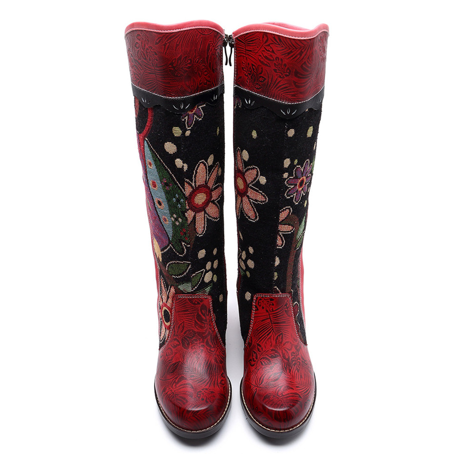 Fashion Patchwork Western Cowboy Boots Women Shoes Bohemian Genuine Leather Shoes Woman Vintage Side Zip Knee High Riding Boots (8)