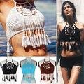 2016 Mujeres Del Cordón Del Ganchillo Knit Bra Bralette Boho Beach Bikini Halter Cami Tanque Tapa de la Cosecha Al Por Mayor