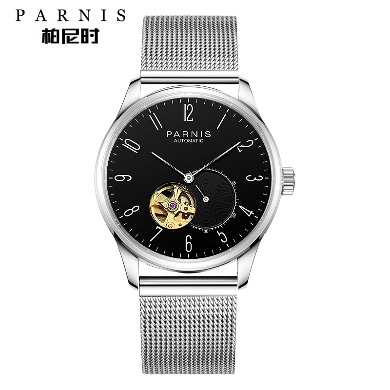 Parnis 41.5MM Hollow Black Dial Mechanical Men Watches Mesh Strap Automatic self winding Men's Watch hommes montres Man Clock