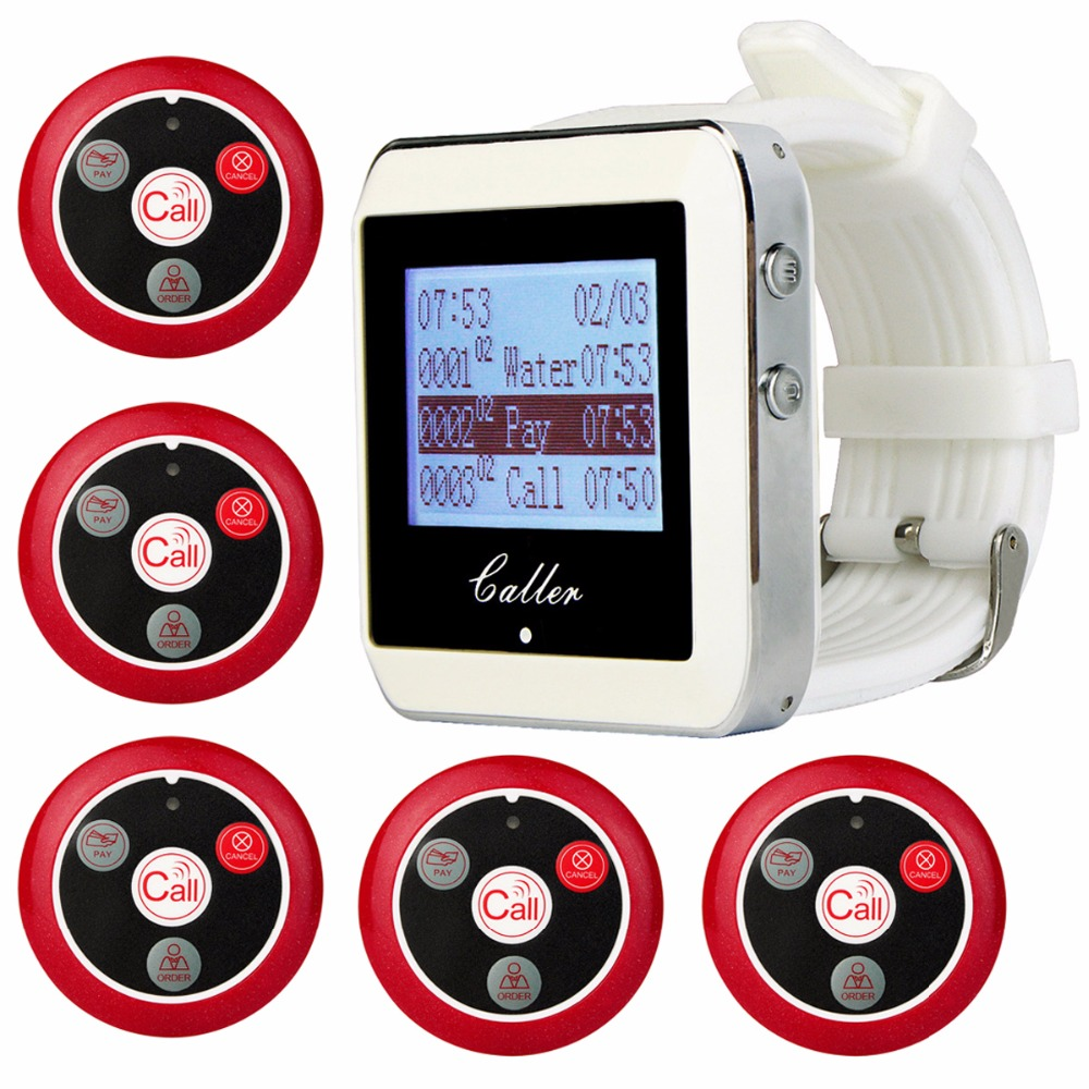 999CH Wireless Restaurant Service Calling System 5pcs Call Transmitter Button+1pcs Wrist Receiver 433MHz for Cafe F3288B wireless waiter call system top sales restaurant service 433 92mhz service bell for a restaurant ce 1 watch 10 call button