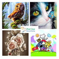Zhui Star 5D Diy Full Square Drill Diamond Painting Cross Stitch Owl Cat Flower Embroidery Rhinestone